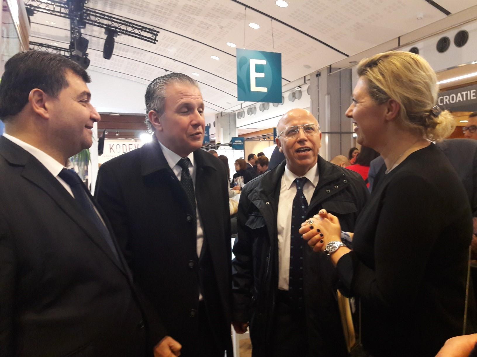 Karelle Geyer, Commissaire Général des Thermalies accueille René Trabelsi Ministre du Tourisme de Tunisie et S.E. Abdelaziz Rassaa Ambassadeur de Tunisie en France. MS.