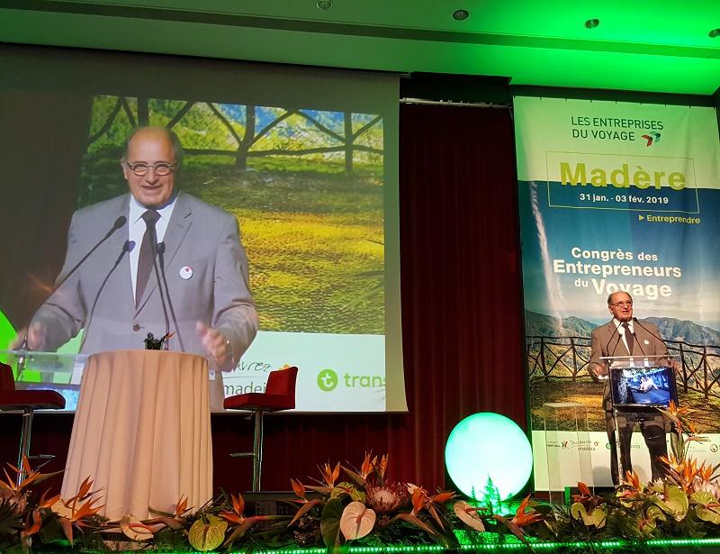 Jean-Pierre Mas président des Entreprises du Voyage lors de l'ouverture du Congrès à Madère - Photo CE