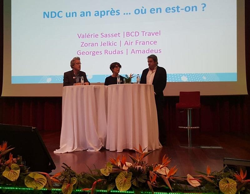 Journées des Entrepreneurs du voyage : la table ronde sur NDC réunissait Zoran Jelkic (Air France), Valérie Sasset (BCD Travel) et Georges Rudas d'Amadeus - Photo CE