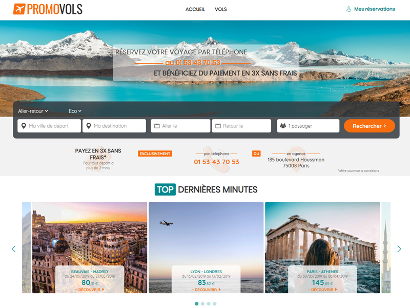 Des changement dès la page d'accueil - Exemple avec Promovols