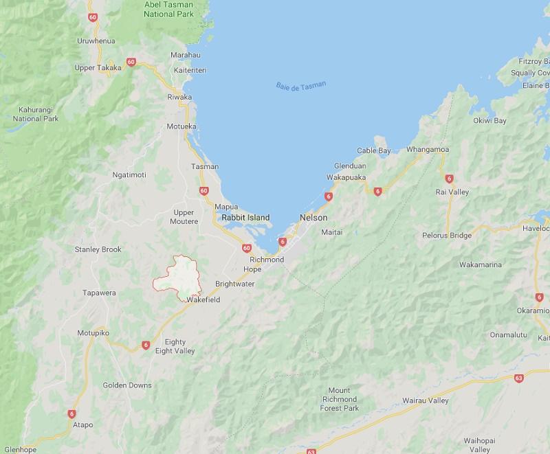 Un incendie s'est déclaré le 4 février en Nouvelle-Zélande dans la Pigeon Valley - DR GoogleMap
