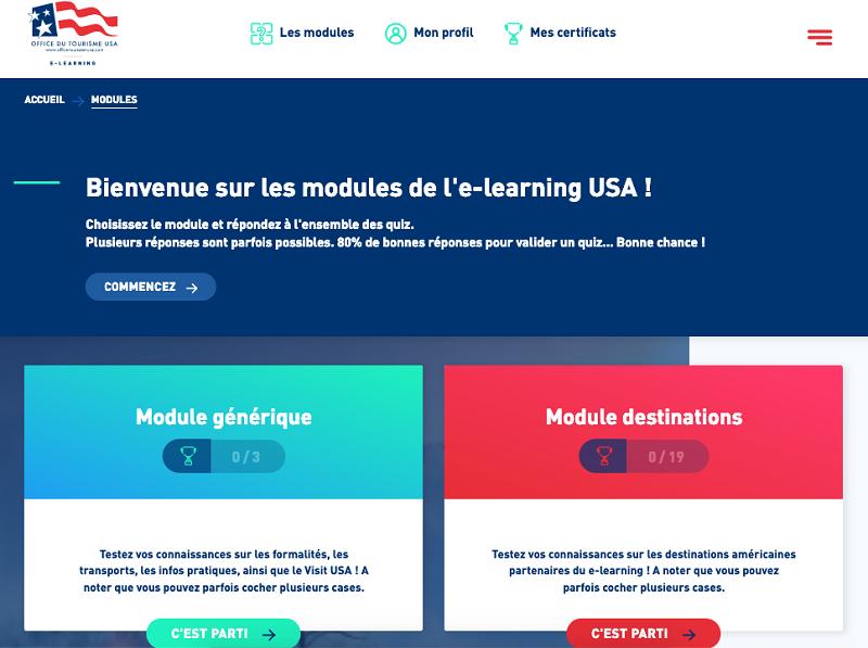 Le nouvel e-learning est composé de 280 questions décomposées en 28 modules de 10 questions - DR : OT USA