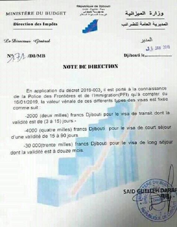 Note de direction du Ministère du Budget de Djibouti
