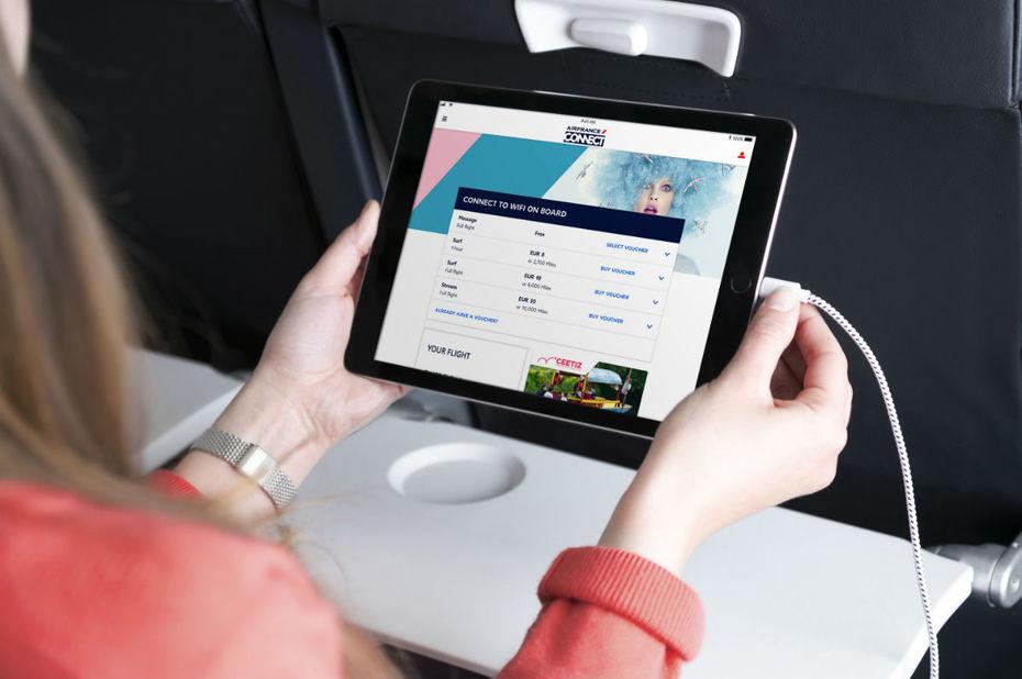 Air France Connect propose trois pass wi-fi, accessibles par les clients depuis leurs appareils : un pass message ; un pass surf ; un pass stream © Air France
