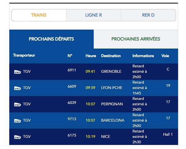 Gare de Lyon (Paris) : de nombreux retards en raison d'une panne électrique - Capture écran du site SNCF.com