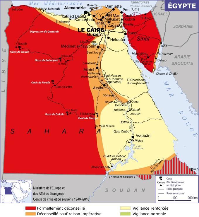 La carte de sécurité de l'Egypte publiée par le Quai d'Orsay - DR MEAE