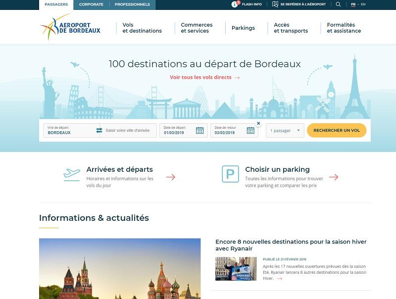 Le site a pour objectif de simplifier le parcours client en facilitant l'accès aux informations - DR : Capture d'écran bordeaux.aeroport.fr