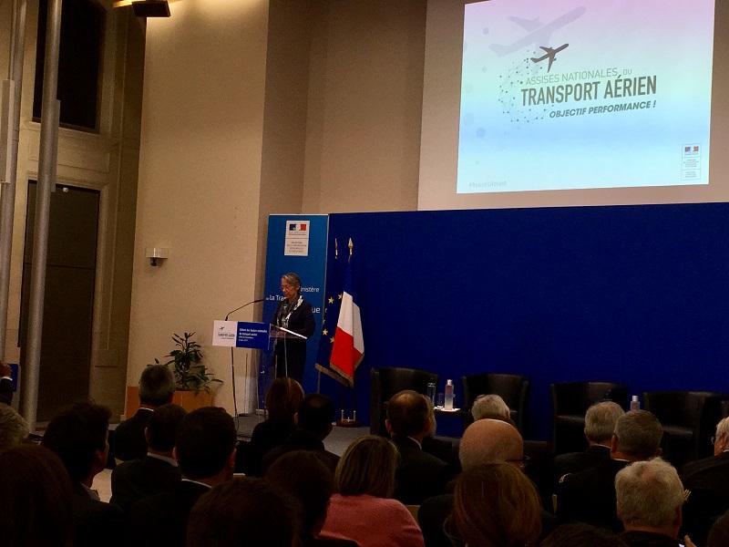 Ce vendredi 8 mars 2019, Elisabeth Borne, ministre de la Transition écologique et solidaire, chargée des Transports a présenté la Stratégie nationale pour le transport aérien (SNTA) proposée par le Gouvernement, suite aux Assises de l'aérien. - CL