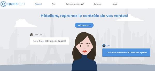 Le chatbot Zoé : disponible dans les chambres d'hôtel grâce à Alcatel-Lucent - Crédit photo : Quicktext
