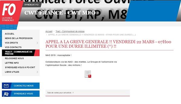 """CWT France : l'intersyndicale appelle à une """"grève générale et illimitée"""""""