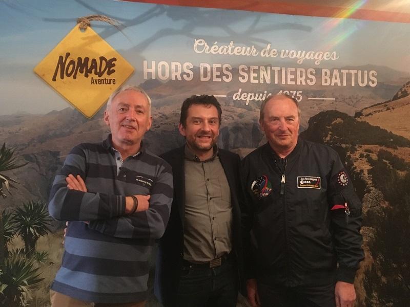 Charles Frankel, spécialiste de la géologie des planètes, Fabrice Del Taglia, directeur général de Nomade Aventure et Jean-Pierre Haigneré, spationaute. Ensemble, ils ont créé deux séjours à la conquête des étoiles, l'un en Russie, l'autre aux Etats-Unis - DR : C.L.
