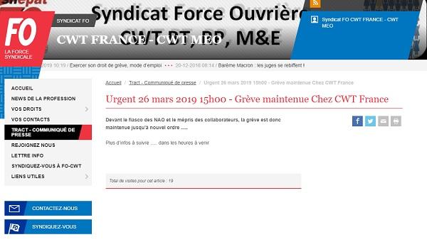 CWT France : la grève générale et illimitée est maintenue - Crédit photo : FO CWT