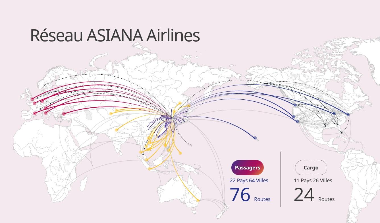 Carte Réseau Asiana Airlines 2019 Passager et Cargo