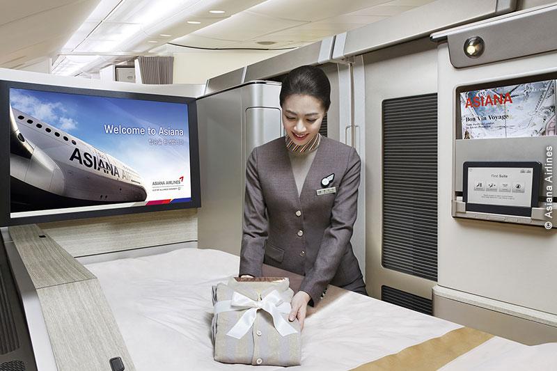 Les 12 Suites sont disponibles sur les 6 A380 d'Asiana Airlines (au départ d'Europe, depuis Francfort)