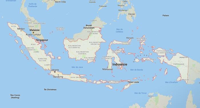 """""""Il est conseillé de se renseigner sur les lieux où se dérouleront les différents rassemblements organisés en faveur des candidats et de s'en tenir à l'écart"""" - Google Map Indonésie"""
