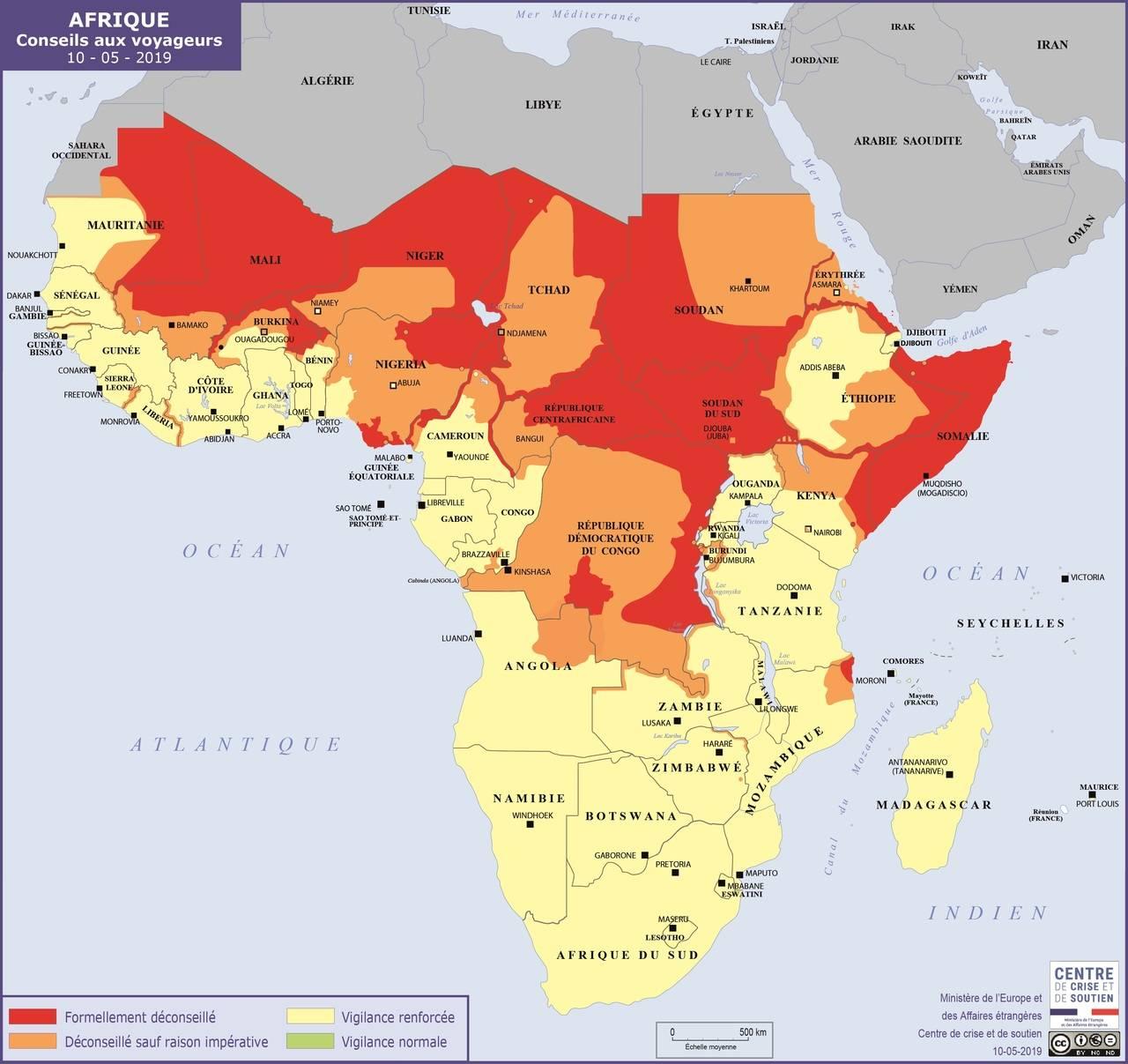 La carte publiée par le Quai d'Orsay concernant l'Afrique - DR