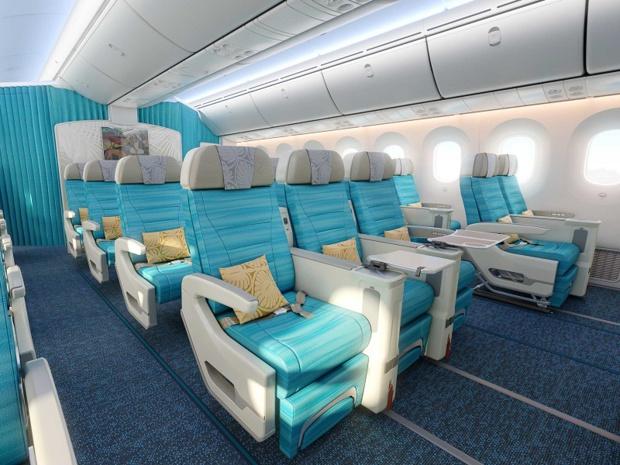 """Avec le Tahitian Dreamliner, la compagnie introduit la nouvelle classe Premium Economy """"MAONA"""". Couverture, coussin, trousse complète d'accessoires et avec ses nouveaux sièges Z535 de chez Zodiac offrant de l'espace pour les jambes et une inclinaison de 20 cm - DR : ATN"""