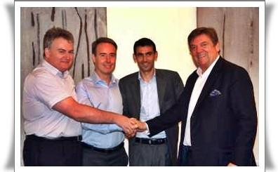 Christian Mazeau, Olivier Kervella, Karim Massoud et Michel-YvesLabbé lors du rachat de Directours par NG en 2008 - DR