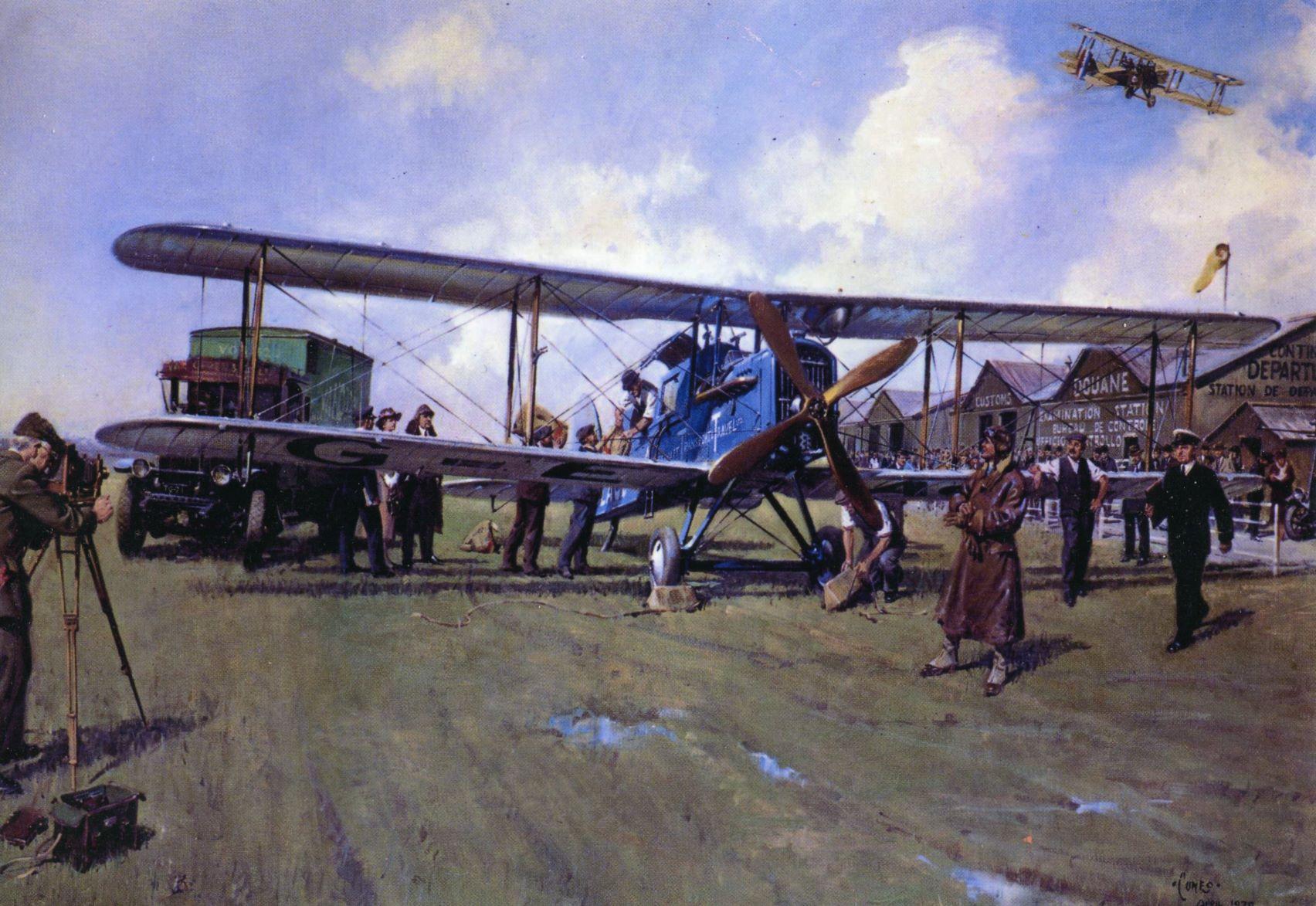 25 août 1919 : naissance de la Aircraft Transport & Travel, l'ancêtre de British Airways. Embarquement du passager et du fret au départ de l'aéroport de Hounslow. Evènement national, les journalistes et les actualités cinématographiques sont là - DR : Tableau signé Terence Cuneo (Collection BA)
