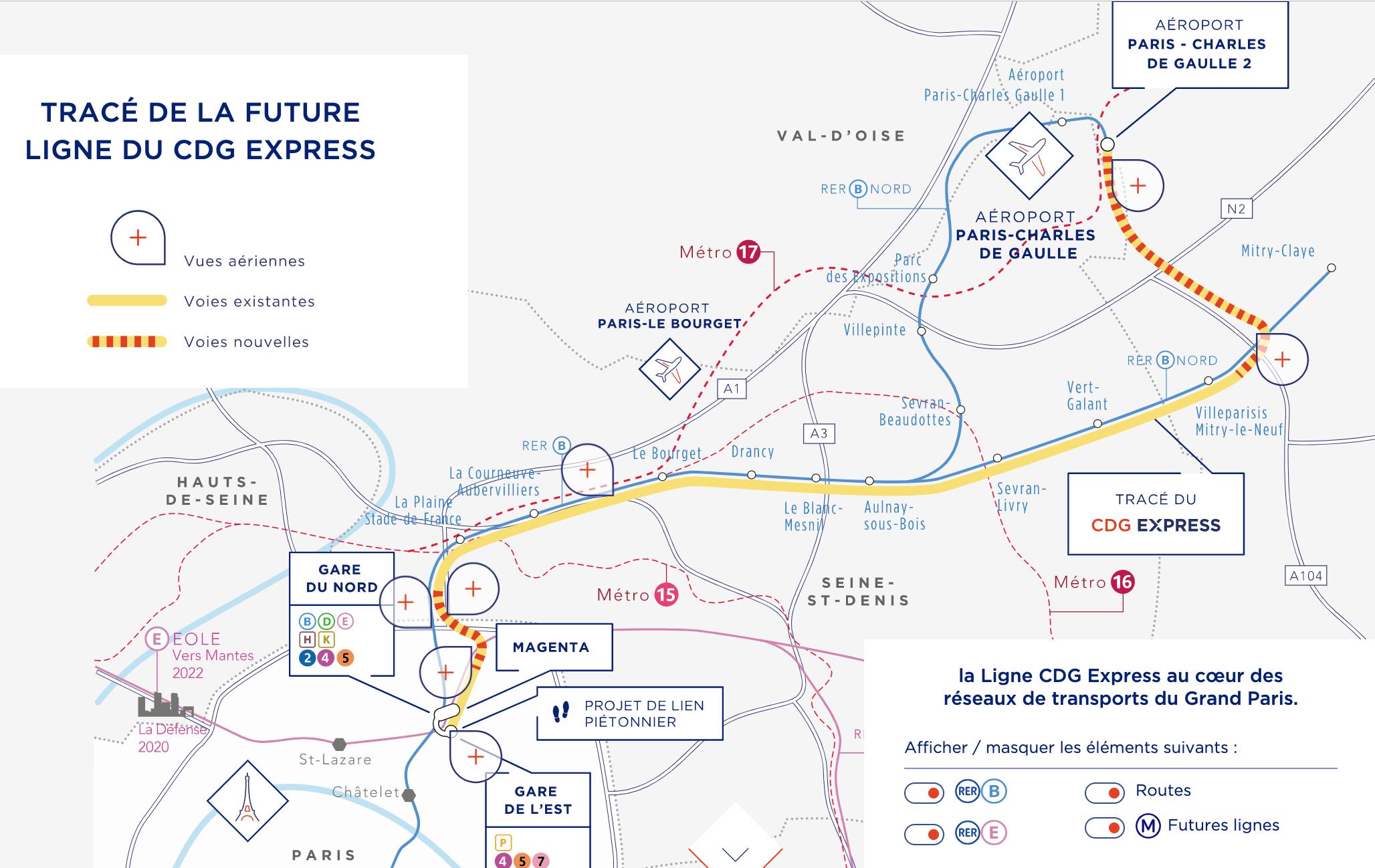 Le trajet du futur CDG Express © Capture d'écran