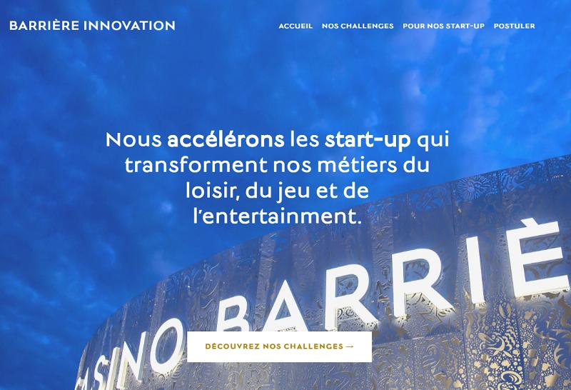 Le site dédié à Barrière Innovation - DR