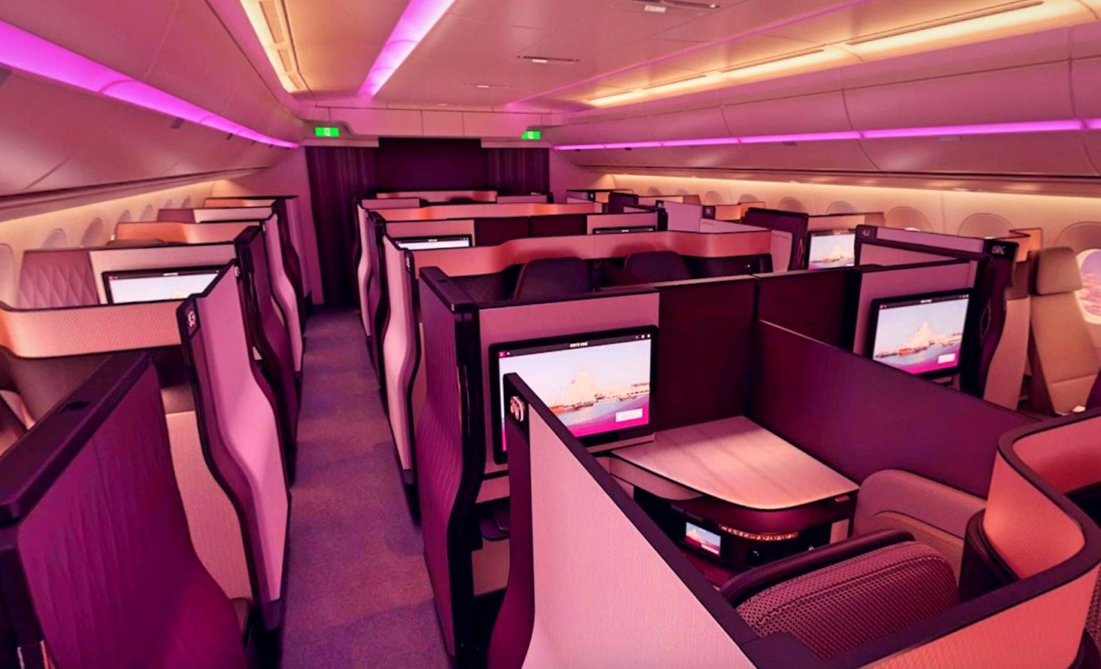 """La fameuse Q-Suite, autoproclamée """"meilleur classe affaires du monde"""", est instalée sur les 777 desservant Paris © QA"""