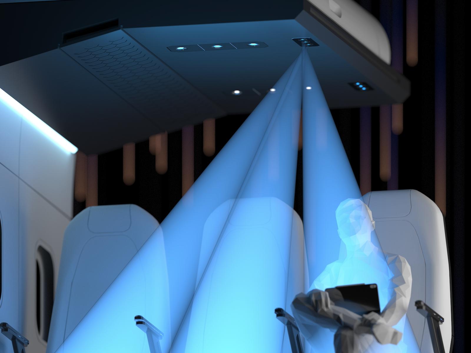 Le LiFi permet d'échanger des données via des ondes lumineuses visibles ©Latécoère