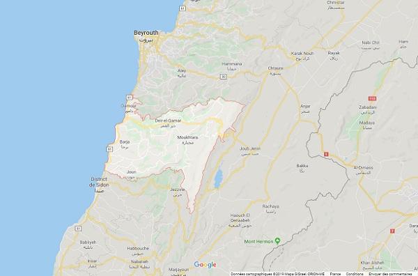 Liban : le Quai d'Orsay déconseille de se rendre dans la région du Chouf - Crédit photo : Google Maps