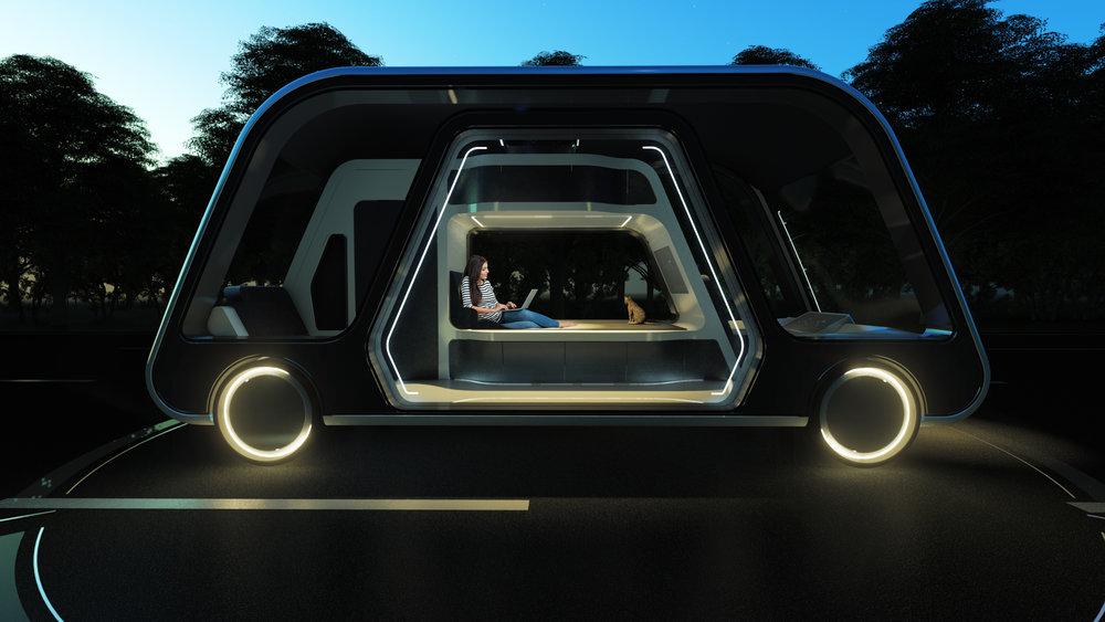 Le designer Steve Lee a imaginé des chambres d'hôtel qui vous permettraient de travailler, faire une sieste ou bien vous préparer un repas tout en étant sur la route - DR : Autonomous Travel Suite