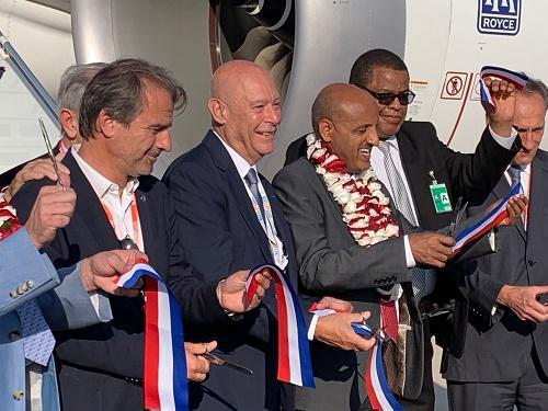 Jean-Luc Chauvin (CCI), Philippe Bernand (Aéroport Marseille Provence) et Tewolde GebreMariam (Ethiopian Airlines) lors de l'inauguration du vol - Photo : J.B.