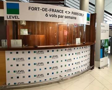 Nouveau comptoir de vente Level à l'aéroport de Fort-de-France - DR