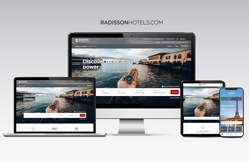 Radisson lance un site web multimarques, RadissonHotels.com. L'application Radisson Hotels, disponible d'ici la fin juillet 2019, complétera ce nouveau site - DR : Radisson Hotel Group