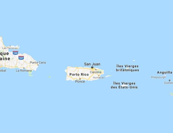 L'Ile de Porto Rico fait face à des manifestations - DR GoogleMaps