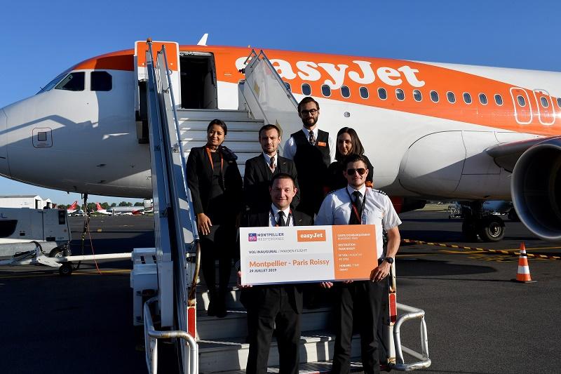 Après Berlin et Bristol, easyJet a lancé le 29 juillet 2019 sa ligne Paris CDG - Montpellier lors d'un vol inaugural - DR : easyJet