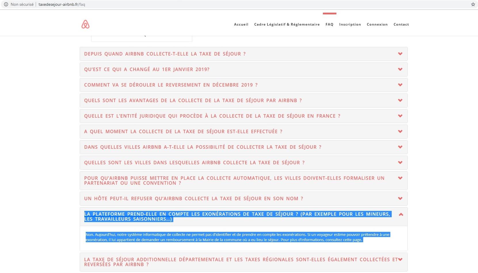 Airbnb ne serait pas en mesure de prendre en compte les exemptions lors du calcul et la collecte de la taxe de séjour - Capture écran du site taxedesejour-airbnb