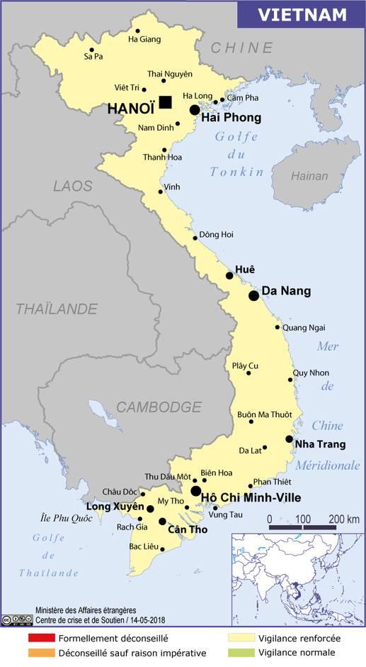 La carte du MEAE pour le Vietnam - DR