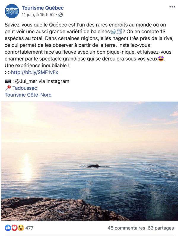 Cette publication de Tourisme Québec sur Facebook cherche à susciter l'émerveillement de sa communauté. Source : compte Facebook de Tourisme Québec