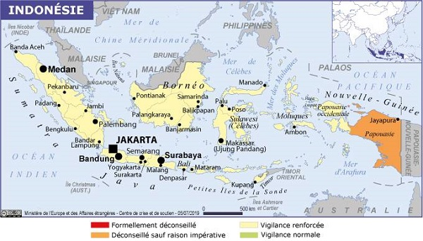 Dans les villes de Manokwari, Sorong, Fakfak (province de Papouasie occidentale), ainsi qu'à Biak et Timika (province de Papouasie) les violences sont nombreuses - Crédit photo : France Diplomatie