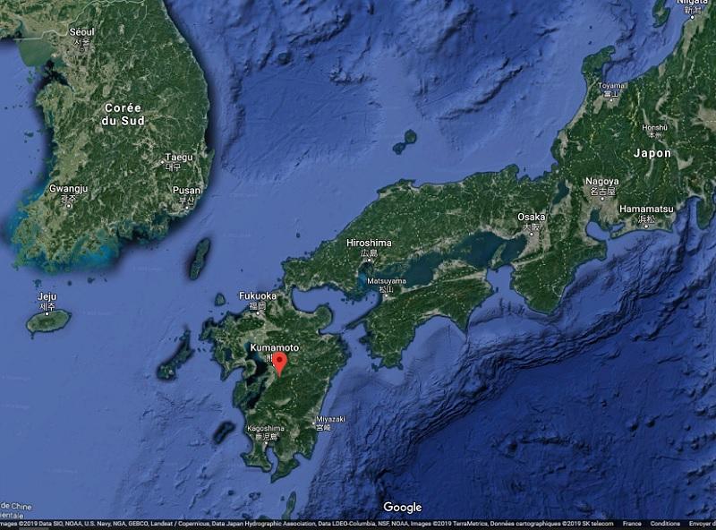 Pour le moment, les pluies  torentielles ont fait deux morts sur l'île de Kyushu - Crédit photo : Google Maps