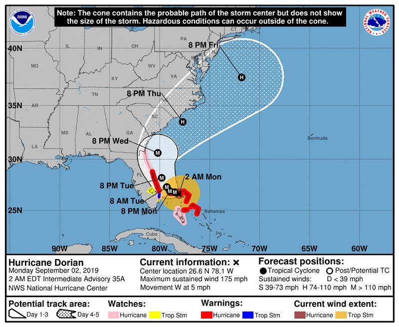 La Floride et la Géorgie se préparent au passage de Dorian qui pourrait mettre des vies en danger - Crédit photo : NHC