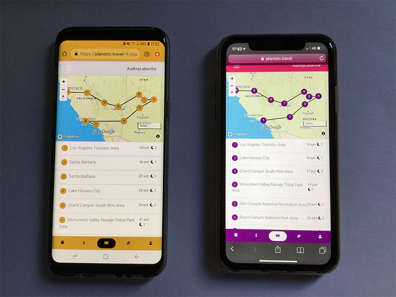 A gauche, un exemple de roadbook personnalisé aux couleurs de l'agence. A droite la formule basique aux couleurs d'EURAM - Planisto