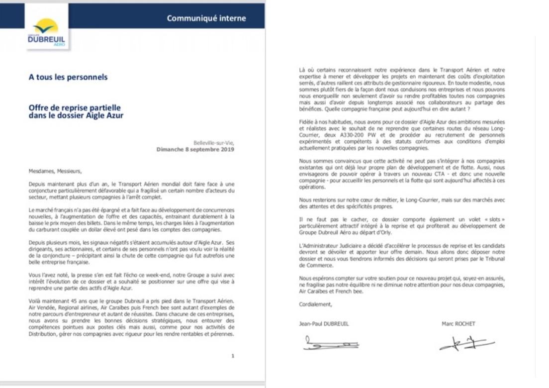 Voici le message concernant l'offre de reprise du groupe Dubreuil concernant l'activité d'Aigle Azur - DR