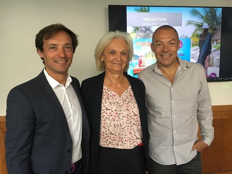 Frédéric Granel, directeur général adjoint du groupe Fram, France-Line Michon, directrice des ventes et Fabien Cadio, directeur commercial groupes. - CL