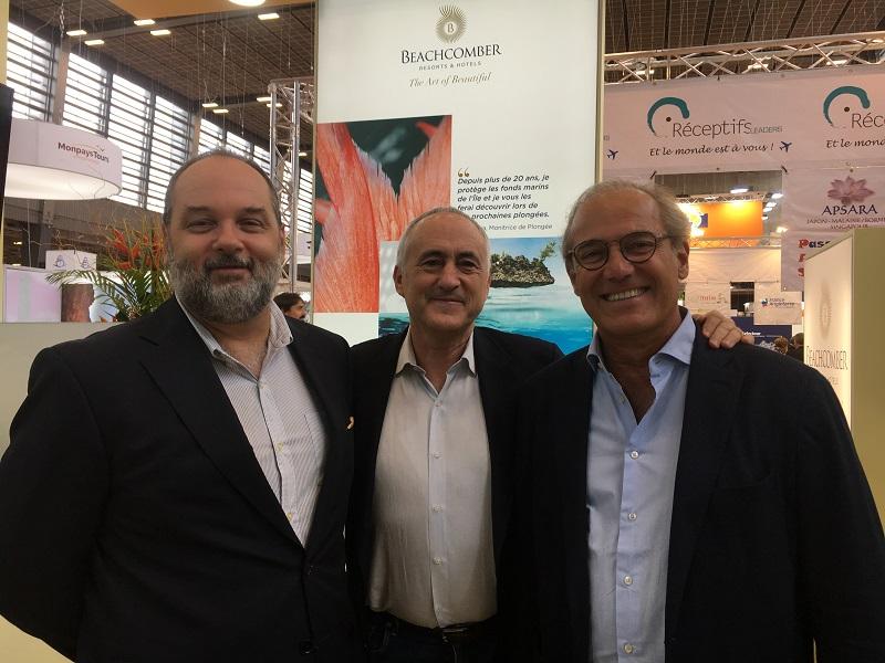 Nicolas Staub, directeur des ventes, François Venin, directeur marketing et commercial de Beachcomber et Rémi Sabarros, directeur de Beachcomber France, Belgique et Luxembourg. – CL
