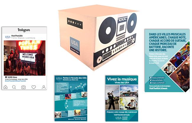 La USA Music Box comprend de quoi décorer votre agence et des goodies à offrir à vos clients - DR Brand USA