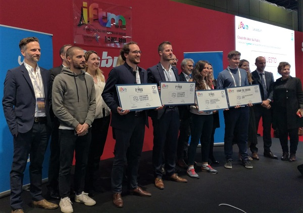 Les start-up ayant remporté des prix lors du Start-up Constest de l'IFTM-Top Resa, dont le 1er prix remis à Europass - Crédit photo : RP