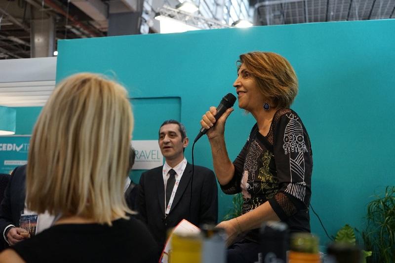 Adriana Minchella sur le stand du CEDIV à l'IFTM Top Resa - DR Cediv