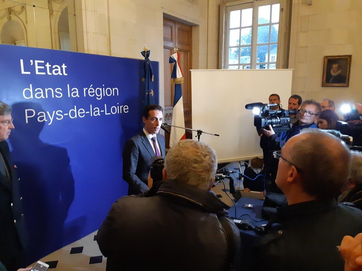 Jean-Baptiste Djebbari à Nantes, le 28 octobre © Préfet des Pays de la Loire et de Loire-Atlantique Prefet44 Twitter