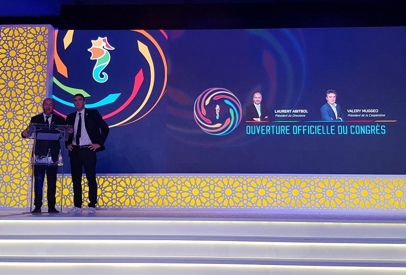 Laurent Abitbol, président du directoire de Selectour et Valery Muggeo président de la coopérative lors du congrès de Dubaï en 2018 - DR photo CE