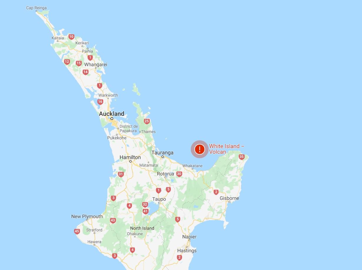 Un volcan est entré en éruption sur White Island en Nouvelle-Zélande - Google Map